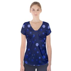 Decorative Dots Pattern Short Sleeve Front Detail Top by ValentinaDesign