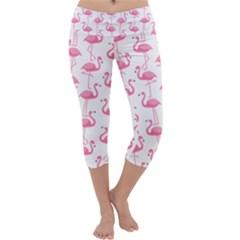 Pink Flamingos Pattern Capri Yoga Leggings