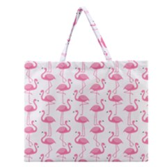 Pink Flamingos Pattern Zipper Large Tote Bag