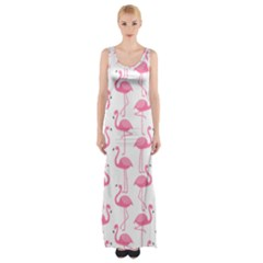 Pink Flamingos Pattern Maxi Thigh Split Dress
