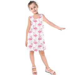 Pink Flamingos Pattern Kids  Sleeveless Dress