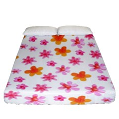 Watercolor Summer Flowers Pattern Fitted Sheet (queen Size) by TastefulDesigns