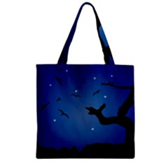 Nightscape Landscape Illustration Zipper Grocery Tote Bag by dflcprints