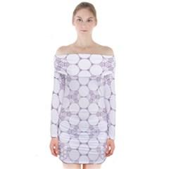 Density Multi Dimensional Gravity Analogy Fractal Circles Long Sleeve Off Shoulder Dress