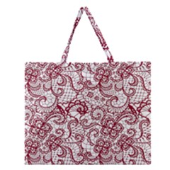 Transparent Lace With Flowers Decoration Zipper Large Tote Bag by Nexatart