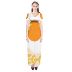 Egg Eating Chicken Omelette Food Short Sleeve Maxi Dress