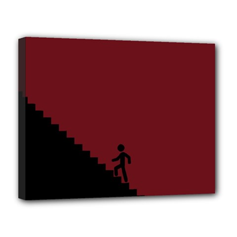 Walking Stairs Steps Person Step Canvas 14  X 11