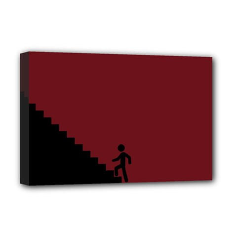 Walking Stairs Steps Person Step Deluxe Canvas 18  X 12