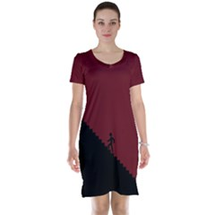 Walking Stairs Steps Person Step Short Sleeve Nightdress