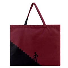Walking Stairs Steps Person Step Zipper Large Tote Bag