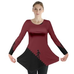 Walking Stairs Steps Person Step Long Sleeve Tunic