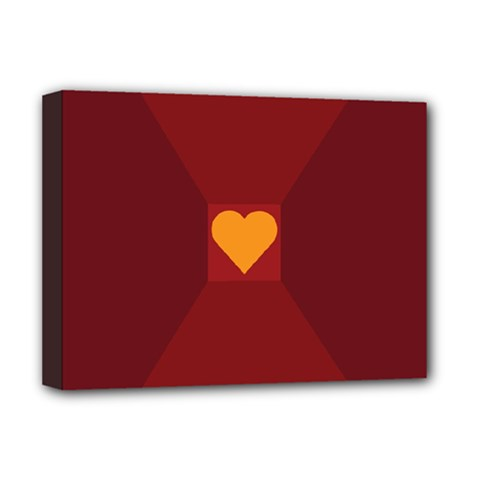 Heart Red Yellow Love Card Design Deluxe Canvas 16  X 12   by Nexatart