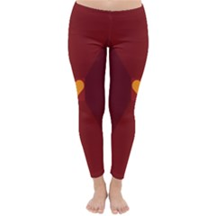 Heart Red Yellow Love Card Design Classic Winter Leggings