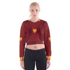 Heart Red Yellow Love Card Design Cropped Sweatshirt