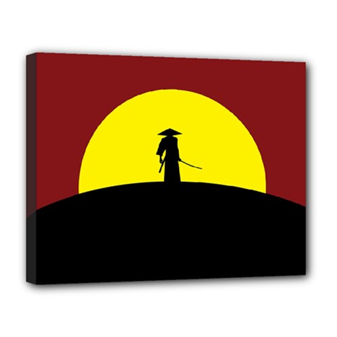 Samurai Warrior Japanese Sword Canvas 14  X 11
