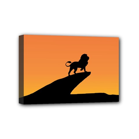 Lion Sunset Wildlife Animals King Mini Canvas 6  X 4
