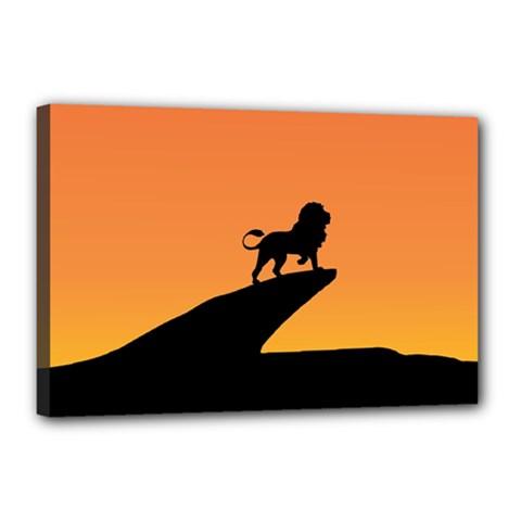 Lion Sunset Wildlife Animals King Canvas 18  X 12  by Nexatart