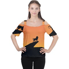 Lion Sunset Wildlife Animals King Women s Cutout Shoulder Tee