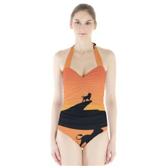 Lion Sunset Wildlife Animals King Halter Swimsuit
