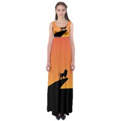 Lion Sunset Wildlife Animals King Empire Waist Maxi Dress