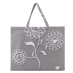 Flower Heart Plant Symbol Love Zipper Large Tote Bag