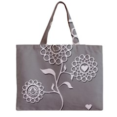 Flower Heart Plant Symbol Love Medium Zipper Tote Bag