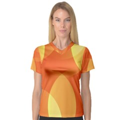 Abstract Orange Yellow Red Color Women s V Neck Sport Mesh Tee