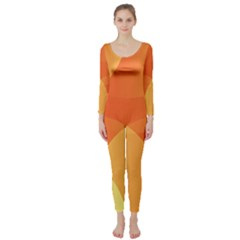 Abstract Orange Yellow Red Color Long Sleeve Catsuit
