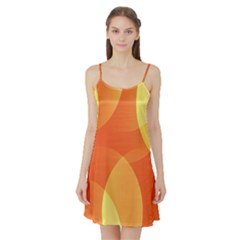 Abstract Orange Yellow Red Color Satin Night Slip