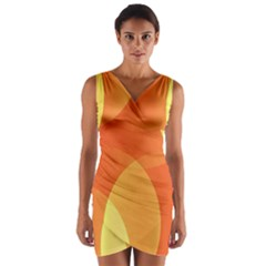 Abstract Orange Yellow Red Color Wrap Front Bodycon Dress