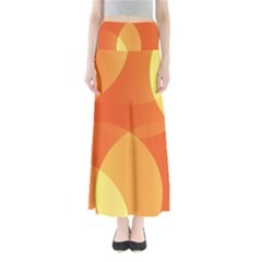 Abstract Orange Yellow Red Color Maxi Skirts