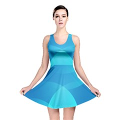 Abstract Blue Wallpaper Wave Reversible Skater Dress