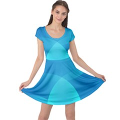 Abstract Blue Wallpaper Wave Cap Sleeve Dresses