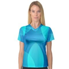 Abstract Blue Wallpaper Wave Women s V Neck Sport Mesh Tee