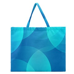 Abstract Blue Wallpaper Wave Zipper Large Tote Bag by Nexatart