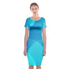 Abstract Blue Wallpaper Wave Classic Short Sleeve Midi Dress
