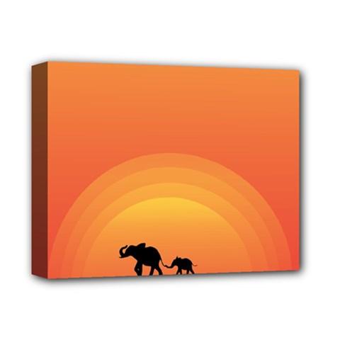 Elephant Baby Elephant Wildlife Deluxe Canvas 14  X 11  by Nexatart