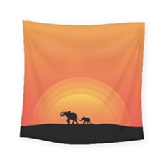 Elephant Baby Elephant Wildlife Square Tapestry (small) by Nexatart