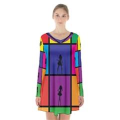Girls Fashion Fashion Girl Young Long Sleeve Velvet V Neck Dress