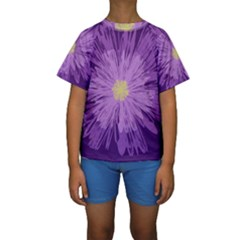 Purple Flower Floral Purple Flowers Kids  Short Sleeve Swimwear