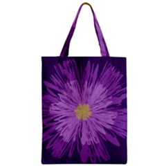 Purple Flower Floral Purple Flowers Zipper Classic Tote Bag by Nexatart