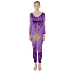 Purple Flower Floral Purple Flowers Long Sleeve Catsuit by Nexatart