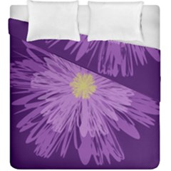 Purple Flower Floral Purple Flowers Duvet Cover Double Side (king Size) by Nexatart