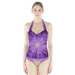 Purple Flower Floral Purple Flowers Halter Swimsuit