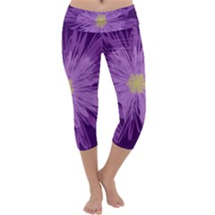 Purple Flower Floral Purple Flowers Capri Yoga Leggings