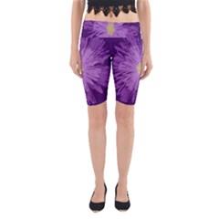 Purple Flower Floral Purple Flowers Yoga Cropped Leggings