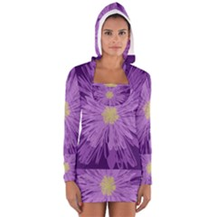 Purple Flower Floral Purple Flowers Women s Long Sleeve Hooded T-shirt