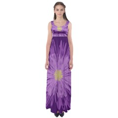 Purple Flower Floral Purple Flowers Empire Waist Maxi Dress