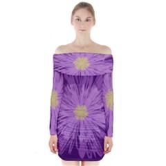 Purple Flower Floral Purple Flowers Long Sleeve Off Shoulder Dress