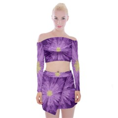 Purple Flower Floral Purple Flowers Off Shoulder Top With Skirt Set